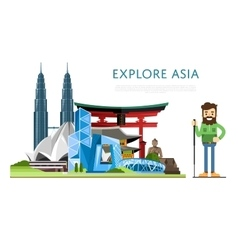 Explore Asia banner with famous attractions vector image