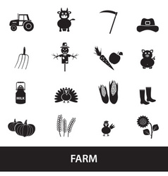 farm black simple icons set eps10 vector image