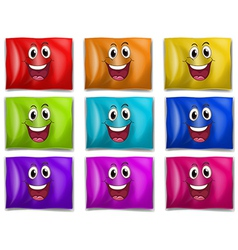 Flags with smiling faces vector
