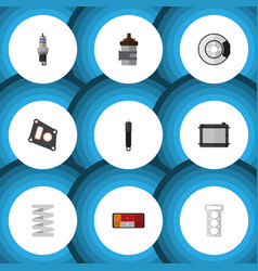 flat icon auto set of packing crankshaft vector image vector image