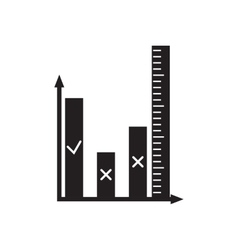 Flat icon in black and white financial graph vector