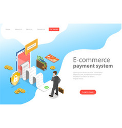 flat isometric landing page template e vector image