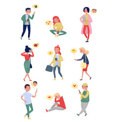 Flat set of people with mobile phones vector