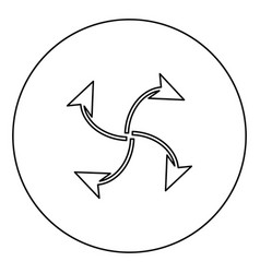 Four arrows in loop from center black icon vector