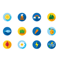 four season weather related block icons set vector image