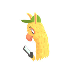 Funny llama character using mobile phone cute vector