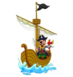 Funny pirate cartoon above ship vector