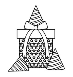 gift box present with party hats vector image