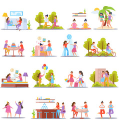 girls friendship orthogonal icons vector image