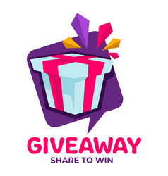 giveaway share to win banner with present for vector image
