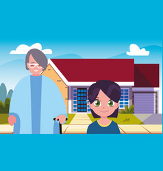 Grandma with grandson front home vector