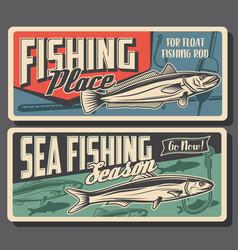 Hake and sardine fish fishing retro banners vector
