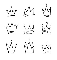 hand drawn crowns logo set for queen icon vector image