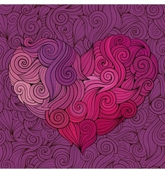 Hand drawn curled graphics heart background vector image