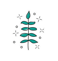 hand drawn twig - stylized plant brush vector image
