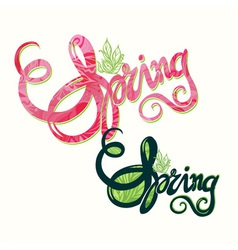 Handlettering spring inscription pattern vector