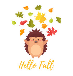 Hedgehog tossing autumn colorful leaves vector
