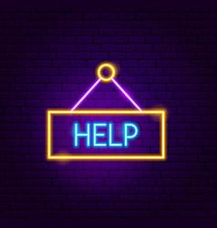 help neon sign vector image