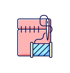 Hemming and seam repair rgb color icon vector