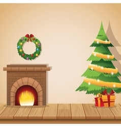 Home with christmas decoration design vector