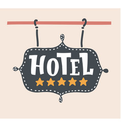 Hotel emblem or signboard with five gold stars vector