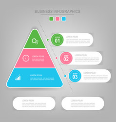 Infographics template of three steps on squares vector
