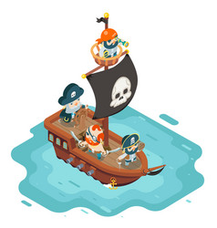 Isometric pirate ship crew buccaneer filibuster vector