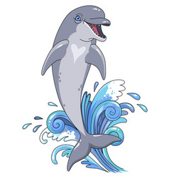 Jumping dolphin character vector