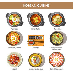 Korean cuisine flat collection of dishes on vector