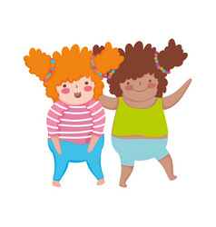 Little chubby girls characters vector