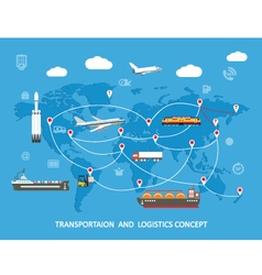 Logistics flat global transportation concept vector image