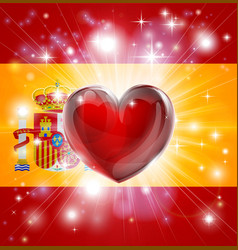 love spain flag heart background vector image