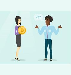Man expressing his unawareness about bitcoin vector
