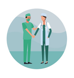 medical teamwork round icon vector image