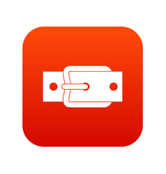 Metal belt buckle icon digital red vector