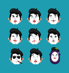 Mime face set sleeping and evil emotion avatar vector