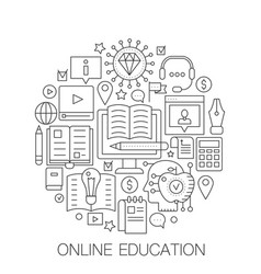 Online education in circle - concept line vector