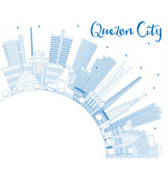outline quezon city philippines skyline with blue vector image