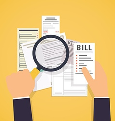 Paying bills Hands holding bills and magnifying vector