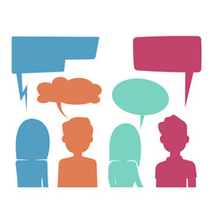 People heads with speech bubbles feedback and vector