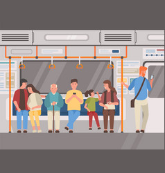 people in subway train public transport flat vector image