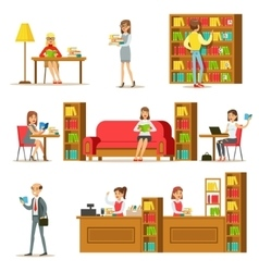 People Taking And Reading Books In Library Set Of vector