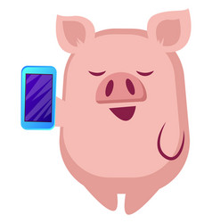 Piggy is holding a mobile phone on white vector