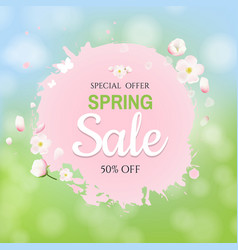 pink stain with flowers sale banner bokeh vector image
