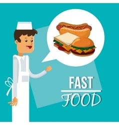 Pizza hot dog sandwich and fast food design vector