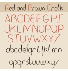Red and brown chalk alphabet vector