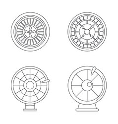 roulette wheel fortune icons set outline style vector image