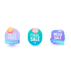 sale badge set discount promo price online banner vector image