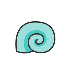 seashell flat color line icon isolated on vector image