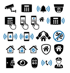 security system network icons vector image